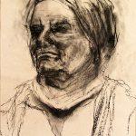 Portrait Frau in Kohletechnik