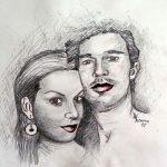 Gemälde Paar in Bleistifttechnik